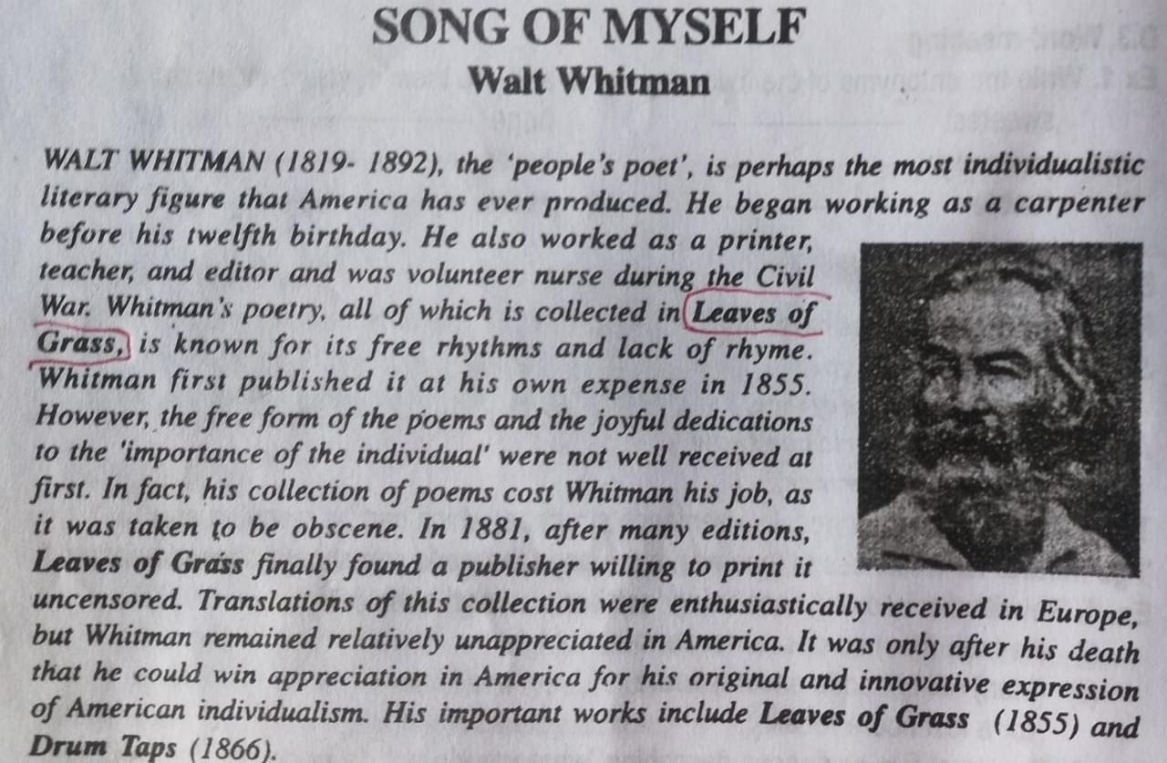 Song Of Myself Summary Easy To Learn 12th Ncert English Exam Media Whitman I Celebrate And Sing Analysis Analysi